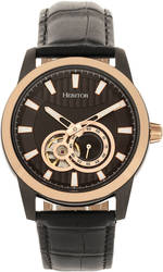 Heritor Automatic Davidson Semi-Skeleton Leather-Band Watch Rose Gold-Tone/Black