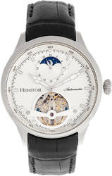 Heritor Automatic Gregory Semi-Skeleton Leather-Band Watch - Silver-Tone/Black