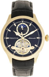 Heritor Automatic Gregory Semi-Skeleton Leather-Band Watch - Gold-Tone/Black