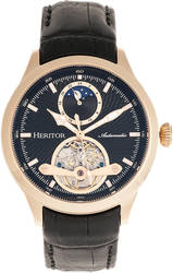 Heritor Automatic Gregory Semi-Skeleton Leather-Band Watch Rose Gold-Tone/Black