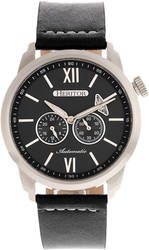 Heritor Automatic Wellington Leather-Band Watch - Silver-Tone/Black