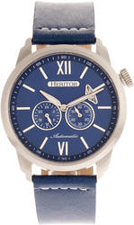 Heritor Automatic Wellington Leather-Band Watch - Silver-Tone/Blue