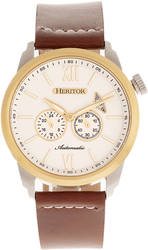 Heritor Automatic Wellington Leather-Band Watch - Brown/Gold-Tone/White