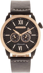 Heritor Automatic Wellington Leather-Band Watch - Rose Gold-Tone/Black
