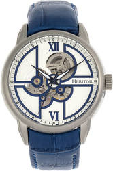 Heritor Automatic Sanford Semi-Skeleton Leather-Band Watch - Silver-Tone/Blue