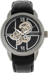 Heritor Automatic Sanford Semi-Skeleton Leather-Band Watch - Silver-Tone/Black