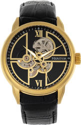 Heritor Automatic Sanford Semi-Skeleton Leather-Band Watch - Gold-Tone/Black