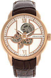 Heritor Automatic Sanford Semi-Skeleton Leather-Band Watch Rose Gold-Tone/Brown
