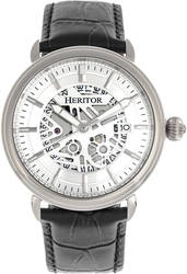 Heritor Automatic Mattias Leather-Band Watch w/Date - Silver-Tone