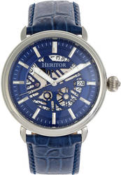 Heritor Automatic Mattias Leather-Band Watch w/Date - Silver-Tone/Blue