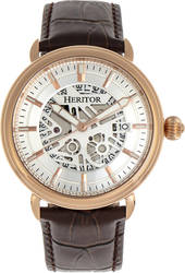 Heritor Automatic Mattias Leather-Band Watch w/Date - Rose Gold-Tone/Silver-Tone