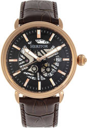 Heritor Automatic Mattias Leather-Band Watch w/Date - Rose Gold-Tone/Black