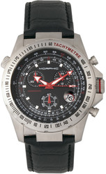 Morphic M36 Series Leather-Band Chronograph Watch - Silver-Tone/Black