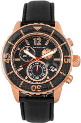 Morphic M51 Series Chronograph Leather-Band Watch w/Date - Rose Gold-Tone/Black