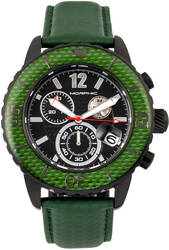 Morphic M51 Series Chronograph Leather-Band Watch w/Date - Black/Green