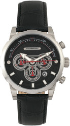 Morphic M60 Series Chronograph Leather-Band Watch w/Date - Silver-Tone/Black