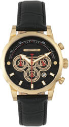 Morphic M60 Series Chronograph Leather-Band Watch w/Date - Gold-Tone/Black