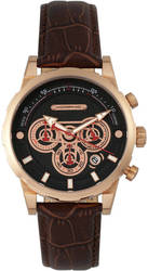 Morphic M60 Series Chronograph Leather-Band Watch w/Date - Rose Gold-Tone/Brown