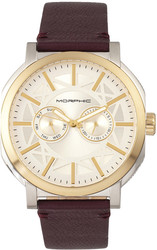 Morphic M62 Series Leather-Band Watch w/Day/Date - Gold-Tone/Plum