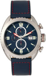 Morphic M64 Series Chronograph Leather-Band Watch w/ Date - Silver-Tone/Blue
