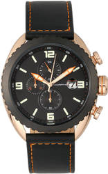 Morphic M64 Series Chronograph Leather-Band Watch w/ Date - Rose Gold-Tone/Black