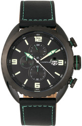 Morphic M64 Series Chronograph Leather-Band Watch w/ Date - Black/Green