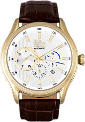 Reign Gustaf Automatic Leather-Band Watch - Brown/Gold-Tone