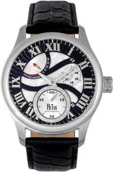 Reign Bhutan Leather-Band Automatic Watch - Silver-Tone/Black
