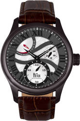 Reign Bhutan Leather-Band Automatic Watch - Black/Brown