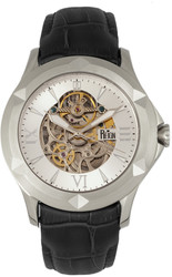 Reign Dantes Automatic Skeleton Dial Leather-Band Watch - Silver-Tone