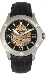 Reign Dantes Automatic Skeleton Dial Leather-Band Watch - Silver-Tone/Black