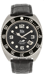 Reign Quentin Automatic Pro-Diver Leather-Band Watch w/Date - Silver-Tone
