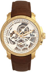 Reign Matheson Automatic Skeleton Dial Leather-Band Watch - Brown/Gold-Tone