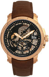 Reign Matheson Automatic Skeleton Dial Leather-Band Watch - Brown/Rose Gold-Tone