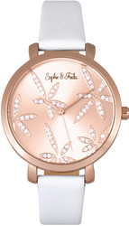 Sophie & Freda Key West Leather Watch Swarovski Crystals - Rose Gold-Tone/White