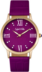 Sophie & Freda Sonoma Leather-Band Watch w/Swarovski Crystals Gold-Tone/Fuchsia