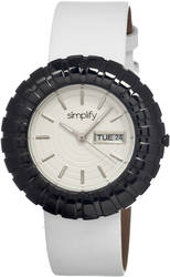 Simplify The 2100 Leather-Band Ladies Watch w/Date - Black/White/White