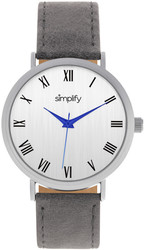 Simplify The 2900 Leather-Band Watch - Silver-Tone/Charcoal