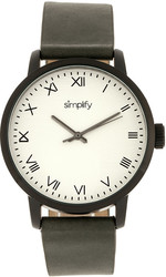 Simplify The 4200 Leather-Band Watch - Charcoal