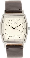 Simplify The 5400 Leather-Band Watch - Silver-Tone/Dark Brown