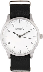 Simplify The 5600 Leather-Band Watch - White/Black