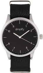 Simplify The 5600 Leather-Band Watch - Black