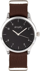 Simplify The 5600 Leather-Band Watch - Black/Brown
