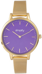 Simplify The 5800 Mesh Bracelet Watch - Gold-Tone/Purple