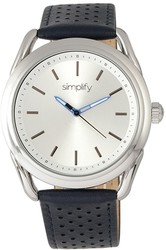 Simplify The 5900 Leather-Band Watch - Silver-Tone/Blue