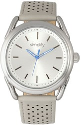 Simplify The 5900 Leather-Band Watch - Silver-Tone/Grey
