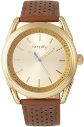 Simplify The 5900 Leather-Band Watch - Gold-Tone/Camel
