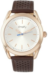 Simplify The 5900 Leather-Band Watch - Rose Gold-Tone/Brown