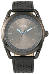 Simplify The 5900 Leather-Band Watch - Black