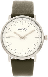 Simplify The 6200 Leather-Strap Watch - White/Olive